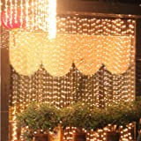 Fuloon 4M x 4M 512 LED Outdoor Party christmas xmas String Fairy Wedding Curtain Light 8 Modes for Choice 110V 220V (Warm White)