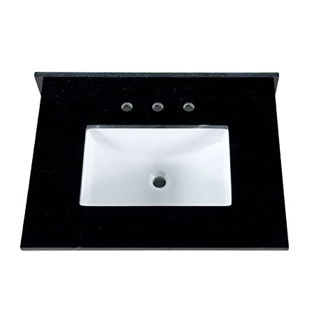 "MAYKKE 31"" Black Granite Bathroom Vanity Top with 8"" Widespread Faucet Holes YSA1123101"