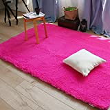 Super Soft Carpet for Living Room Modern Girls Room Rug Runners Solid Area Rugs Shaggy Rugs Modern Shag Carpet Rectangle Hot Pink Bedroom Rug Washable Rugs Solid Home Decorator Floor Rug and Carpet 3x4