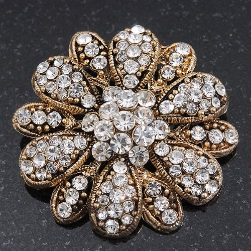 Vintage Swarovski Crystal Floral Brooch (Antique Gold) 1