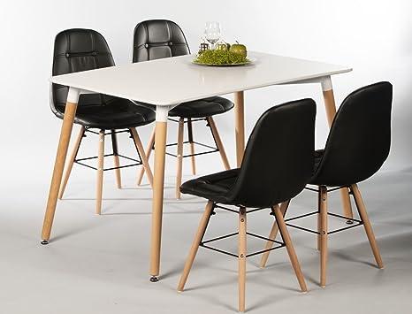 Tischgruppe Esstisch Ilka weiß + 4 Stuhle Tobias schwarz Essgruppe Esszimmer Speisezimmer Wohnzimmer Kuche