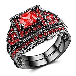 Jewelry Black Gold Filled Red Zircon Stone Women's Promise Rings Set US Size 5-11 (7)