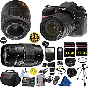 Nikon D7200 DX-Format DSLR Digital Camera Body, Nikon 18-55mm VR Lens, Tamron 70-300mm DI LD Zoom, 2pcs 32GB Memory, Case, Wide Angle, Telephoto, Flash - International Version