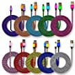 CIKOO 10Pcs/Pack 3Ft Metal Nylon Braided Micro USB Charger Cable Data Sync Charging Cord for Android Smartphone, Samsung, HTC, Motorola, Nokia and More Devices (10x Colors)
