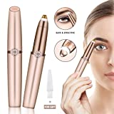 CHARMINER Eyebrow Hair Remover, Rose Gold Eyebrow Trimmer for Women, Lightweight Painless Eyebrow Epilator with Light, Battery Not Included (Rose gold) (Color: Rose gold)