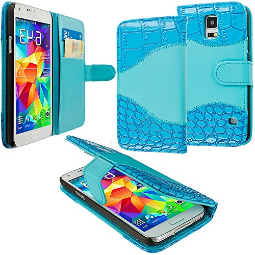 Mylife Electric Blue Crocodile - Luxury Design - Koskin Faux Leather (Card, Cash And Id Holder + Magnetic Detachable Closing) Slim Wallet For New Galaxy S5 (5G) Smartphone By Samsung (External Rugged Synthetic Leather With Magnetic Clip + Internal Secure
