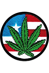 """Pot Leaf on USA Flag - 2-7/8"""" Round - Embroidered Iron On Or Sew On Patch"""