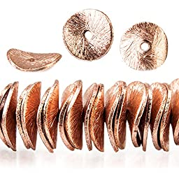 10mm Rose Gold plated Copper Brushed Wavy Disc