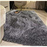 Hmlover Thick Soft Silk Shaggy Mat Home Bedroom Area Rug Living Room Short Plush Plain Rectangle Rug, 2 Sizes,...