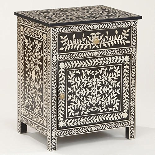 Bone Inlay Floral Bedside Handmade Inlay Wholesale Furniture