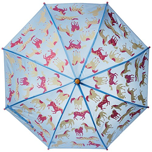 Hatley Big Girls' Hearts and Horses Umbrella, Blue, One Size image