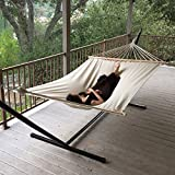 The hammock is the product to enjoy for years as an incredible addition of relaxation to any backyard or around pool deck. Take a load off this summer by yourself or with a lounging mate. This large canvas fabric hammock is built for two adul...