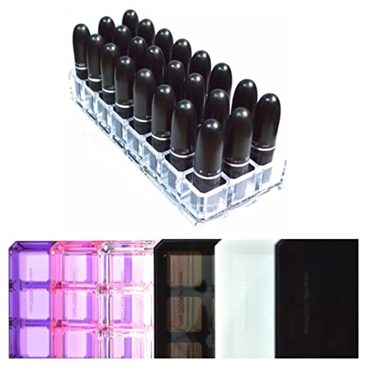 Acrylic Lipstick Organizer & Beauty Container 24 Space Storage byAlegoryTM (Clear)