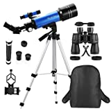 MaxUSee Travel Scope with Backpack - 70mm Refractor Telescope & 10X50 Full-size HD Binoculars for Moon Viewing Bird Watching Sightseeing (Tamaño: Telescope with 10X50 Binoculars)