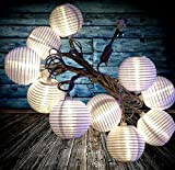 BRIGHTEST Set of 10 Chinese LED Lantern String Lights for Patio 11.67ft Long - Mini Oriental Nylon Globes - Warm White - Connectable & Expandable up to 1,050 Ft / 900 Lights! by Qualizzi®