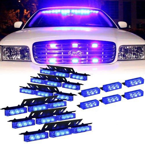 Nilight® 72 X Ultra Bright Led Emergency Warning Use Flashing Strobe Lights Bar For Windshield Dash Grille- Bule