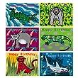 6 animal design birthday cards for boys, tiger, shark, gorilla and lizard designs