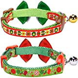 Blueberry-Pet-Pack-of-2-Neck-9-13-Holiday-Fun-Celebration-Finale-Adjustable-Breakaway-Cat-Collar-with-Bow-Tie-Bell