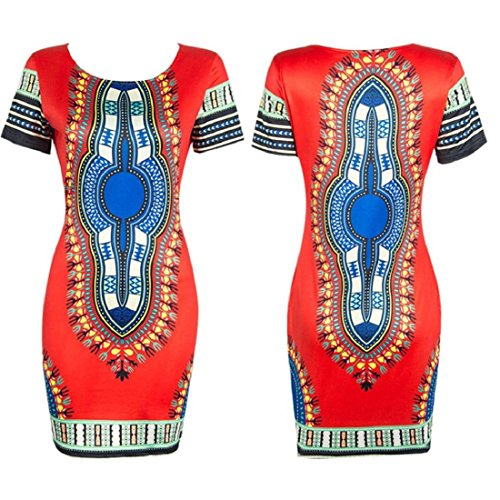 Orangesky Women Traditional African Print Dashiki Bodycon Short Sleeve Dress (M, Red)