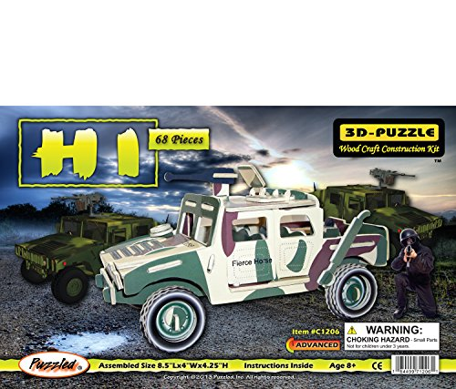 Puzzled Colorful Wood Craft Construction Hummer H1 3D Jigsaw Puzzle