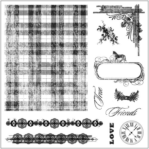 Fiskars 8-Inch by 8-Inch Background Clears Stamps, Tartan and Time
