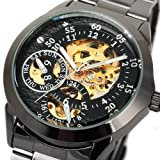 Luxury Automatic Skeleton Sport Stainless Steel Black Men Mechanical Wrist Watch