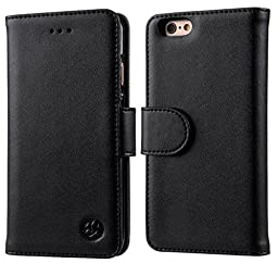 iPhone 6 Case, iPhone 6s Case, Genuine Leather Wallet Case [3 Cards Slots] [Protective Bumper] [Magnetic] [Black] for iPhone 6 6s