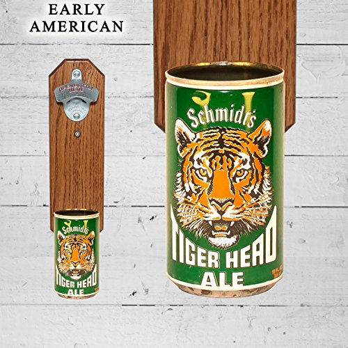 Wall Mounted Bottle Opener with Vintage Schmidt Tiger Head Beer Can Cap Catcher (Tiger Head Bottle Opener compare prices)
