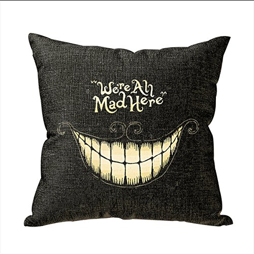 Funny We Are All Mad Here Personalized 18x18 Inch Square Cotton Blend Linen Throw Pillow Case Decor Cushion Covers Beige