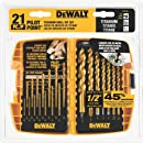 DEWALT DW1361 Titanium Pilot Point Drill Bit Set, 21-Piece