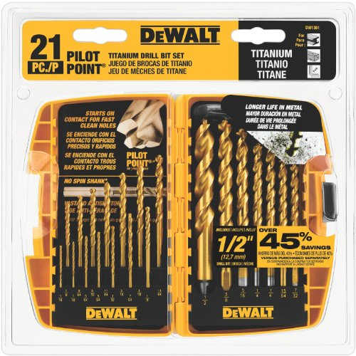 DEWALT DW1361 Titanium Pilot Point Drill Bit Set, 21-Piece (Drill Bit For Metal compare prices)