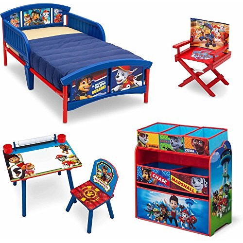 Nick Jr. Paw Patrol 5 Piece Furniture Kids Set - Plastic Toddler Bed, Multi-Bin Organizer, Art Desk and Chair, Director's Chair for Boys Toddler