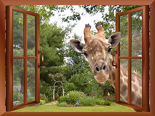 Wall26® - A Curious Giraffe Sticking its head into an Open Window | Wall26 High Quality Removable Wall Sticker / Wall Mural - 36