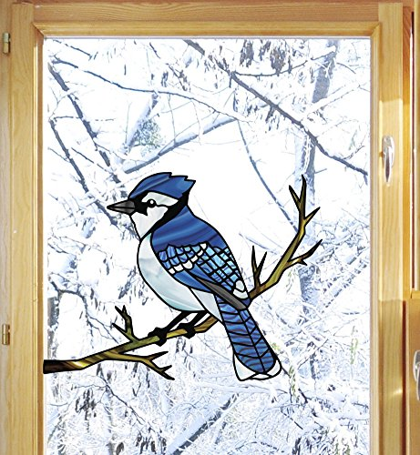 Bird - Blue Jay Perched on Branch - Stained Glass Style Window Decal - Copyright © Yadda-Yadda Design Co. (VARIATIONS AVAILABLE) (6
