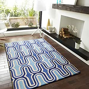 Abstract blue transitional living room area for Living room rugs amazon