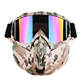 Mexidi Detachable UV Protective Motorcycle Goggles Mask Anti-Fog Protective Ski Goggles, Adjustable Windproof Outdoor Paintball Airsoft Mask Face Shield for Kids Youth Men Women (Camouflage) (Color: Camouflage, Tamaño: Medium)