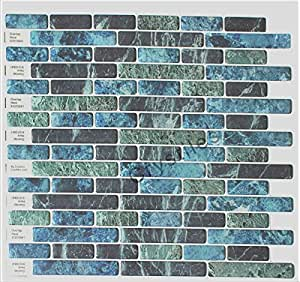 Amazon Com Crystiles 174 Peel And Stick Self Adhesive Vinyl Wall Tiles Blue Green And Black