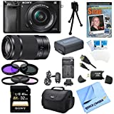 Sony a6000 ILCE6000LB ILCE-6000L/B ILCE6000 Alpha a6000 24.3 Interchangeable Lens Camera with 16-50mm Power Zoom Lens BUNDLE with SEL 55-210 (Black), Sony 32GB Class 10 Card, Spare Battery, Deluxe Digpro Case, DVD SLR Guide, SD Reader, Beachcamera Cloth a