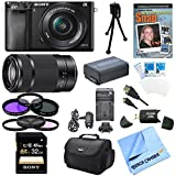 Sony Alpha a6000 Interchangeable Lens Camera with 55-210mm and 16-50mm Power Zoom Lenses (Black) Bundle with 32GB Class 10 Card, Spare Battery, Deluxe Padded Case, DVD SLR Guide, SD Card Reader, and more
