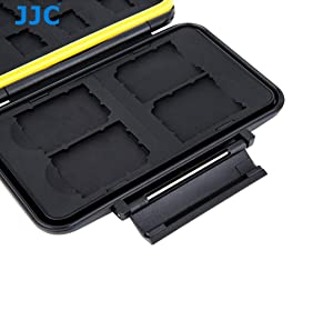 JJC MC-SDMSD12 Ruggard SD Card Case, Micro SD Card Case, Water-Resistant Case for SD Micro SD Cards, Rubber Sealed Ergonomic Locking Easy Carrying Memory Card Case fits 4 SD 8 Micro SD Cards (Color: Black /Yellow, Tamaño: MC-SDMSD12)