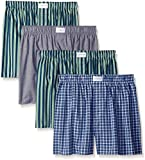Tommy Hilfiger Men's 4 Pack Woven Boxers,  Green Multi/Juniper/Carbon,  Large