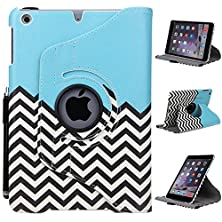buy Ipad Mini Case, Ipad Mini 3 Case - E Lv Ipad Mini Case Cover - Full Body Protection (Rotating Stand) Pu Leather Smart Case Cover Shell For Apple Ipad Mini 3 / Ipad Mini 2 / Ipad Mini - Zig Zag
