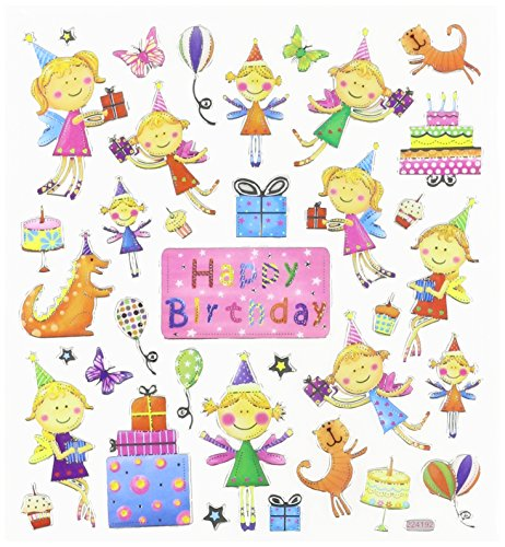 Multi-Colored Stickers-Birthday Fairies