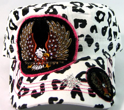 rhinestone-eagle-vintage-cadet-hats-fashion-white-leopard-print
