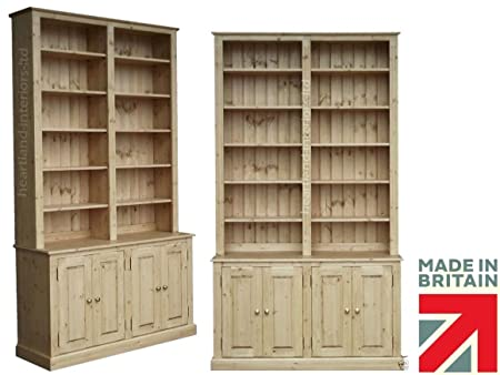 Solid Pine Bookcase, 8ft Tall Handcrafted & Waxed Adjustable Display Shelving Unit, Bookshelves, Buffet Hutch Dresser. Choice of Colours. No flatpacks. No assembly (BK8D)