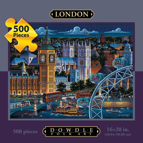 Picture of Fun Dowdle Folk Art London  500pc 16x20  Puzzles (B004V0I6I8) (Jigsaw Puzzles)