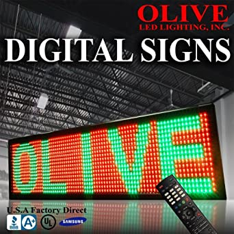 """Olive LED Signs 3 Color (RGY) 19"""" x 53"""" - Storefront Message Board, Programmable Scrolling Display - Industrial Grade Business Tools"""