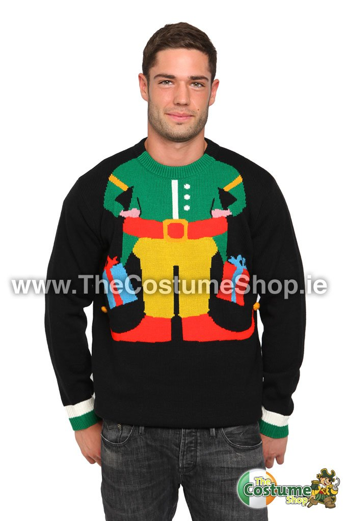 Black , Elf Knitted Christmas Sweater