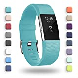 POY Replacement Bands Compatible for Fitbit Charge 2, Classic & Special Edition Sport Wristbands, Cyan Small, 1PC