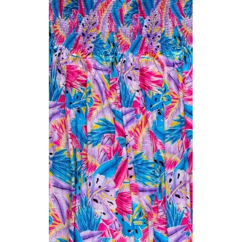50'' Wide Rayon Mock Smock Floral Lavender/Fuchsia/Turquoise Fabric By